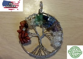 "NATURAL STONE MULTI-COLOR TREE OF LIFE PENDANT ON 24"" STERLING SILVER FI... - $18.46"