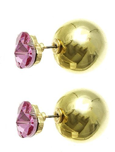 Heart Solitaire Double Sided Ball Earrings (Pink Heart / Goldtone Ball)
