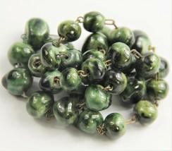 "22"" ESTATE VINTAGE Jewelry RETRO GREEN CERAMIC BEAD HAND WIRED ADJ NECKLACE - $35.00"