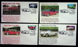 50's Sporty Cars Tiger Cachets Lot Of 4 Gene Bricker First Day Covers 20... - $7.55
