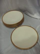 5 Vintage Antique Haviland Limoge Coupe Salad Plates Gold Band & Line - $64.35
