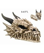 PTC 8.08 Inch Horned Dragon Skull with Fang Teeth Box Statue Figurine - $43.99