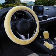 3Pcs Beige Winter Steering Wheel Cover Handbrake Car Automatic Cover/War... - $12.18