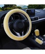 3Pcs Beige Winter Steering Wheel Cover Handbrake Car Automatic Cover/War... - $12.18