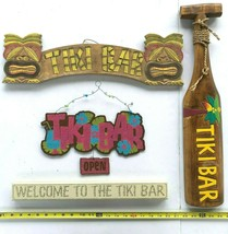 Tiki Bar 4 Wooden Wall Sign Bundle Welcome Open Small Paddle Tropical Ma... - $43.31