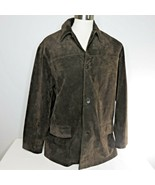 Banana Republic XL Chocolate Brown Suede Leather Car Coat Jacket Heavy Q... - $76.19