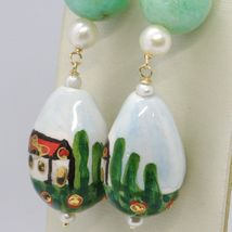 18K YELLOW GOLD EARRINGS AVENTURINE & CERAMIC DROP HOME HAND PAINTED IN ITALY image 4