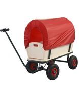 Kids Wagon All Terrain Pulling Red Covered Wood Railing Children Kid Gar... - $73.97