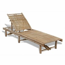 vidaXL Sunlounger Bamboo Adjustable Chaise Lounge Outdoor Pool Chair Day... - $131.99