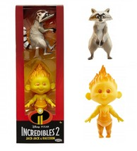 Disney Pixar Incredibles 2 Fire Jack-Jack and Raccoon Action Figures set - $8.90