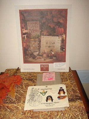 Shepards Bush Pattern Book, 18ct. Fabric And Homespun Heart Thanksgiving Buttons