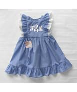 Girl Ruffled Monogrammed dress Pinafore Summer Monogram Dress Blue Girl ... - $41.00
