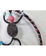 Necklace 24 Inches Kumihimo Mixed Media Dancing People Natural Druzy Bea... - $39.99