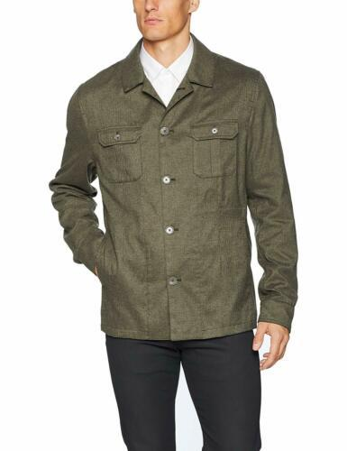 Calvin Klein Mens Slim-Fit Military Button Down Shirt Jacket Large L Green