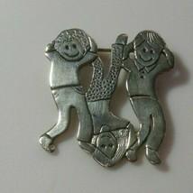 Vintage Signed 925 Sterling Silver Brooch Children - $34.65