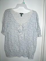 LRL Ralph Lauren Jeans Co White Blue Floral Chest Ruffles S/S Top XL - $19.59