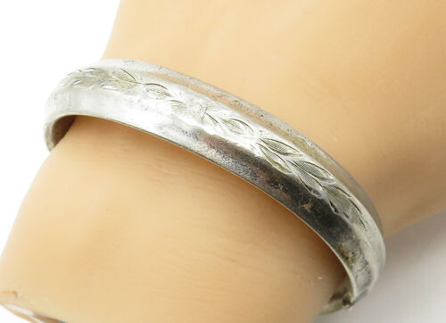 Primary image for CARL-ART 925 Silver - Vintage Smooth Raised Floral Etched Bangle Bracelet- B6439