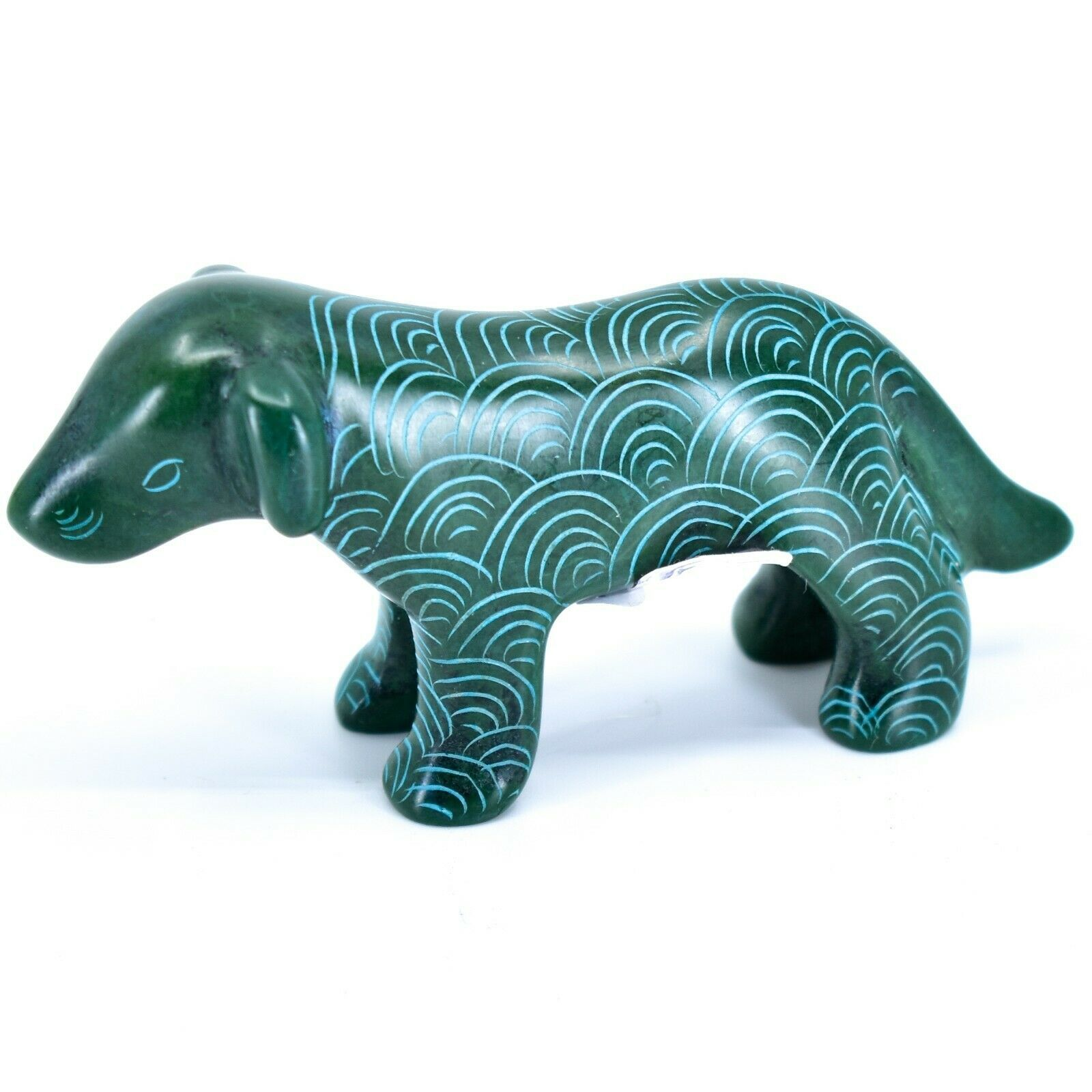 Tabaka Chigware Hand Carved Kisii Soapstone Green Standing Puppy Dog Figure