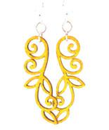 Green Tree Jewelry Vined Line #1167 Lemon Color Wooden Laser Cut Earrings - $9.99