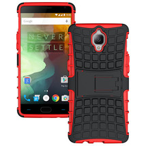 Dual Layer Shockproof Armor Kickstand Phone Cover Case for OnePlus 3 - Red  - $4.99
