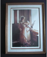"Signed Ltd Edition Framed Sandra Kuck ""Sisters"" (Violin Lesson) Print  - $225.00"