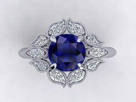 Blue,White Diamond Round Cut Flower Petals Anniversary Ring Solid 14k White Gold - $399.99