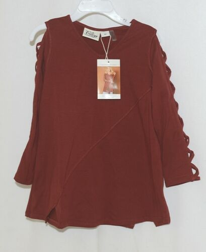 Simply noelle curtsy couture Girls Cutout Long Sleeve Shirt Paprika Size 4T