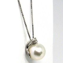 18K WHITE GOLD NECKLACE AKOYA PEARL 7.5 MM AND DIAMOND, PENDANT & VENETIAN CHAIN image 2