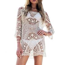 New Lace Hollow Out Sling Blouse Summer White  3 / 4 Sleeve Blouse Sexy ... - $26.61