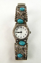 Vintage Ladies Turqouise Stone Analog Watch Stretch Band Unbranded - $22.43