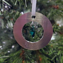 Small Aluminum and Crystal Circle Ornament - Octagon image 7