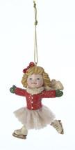 KURT S. ADLER ADORABLE VINTAGE SKATER GIRL w/RED COAT CHRISTMAS ORNAMENT - $9.88