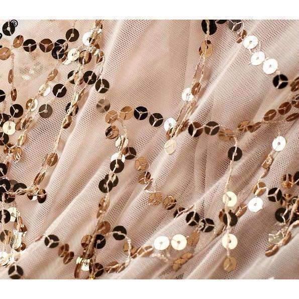 High Neck Sequins Tassels Women Mermaid Maxi Dress