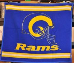 "Vtg BIEDERLACK Blue & Yellow RAMS Football Throw Blanket USA 46""x54"" NFL... - $39.60"