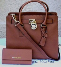 Michael Kors Hamilton 2PC Large Tote Bag Matching Wallet Luggage Brown Gold*Nwt* - $339.00
