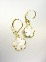 NEW 18kt Gold Plated Mother Pearl Shell Clover Lever Back Petite Dangle ... - $21.99