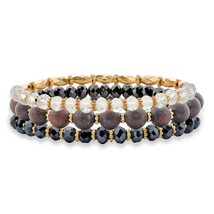 "3-Piece Black and White Crystal Gold Tone Beaded Stretch Bracelet Set 8"" - $12.15"