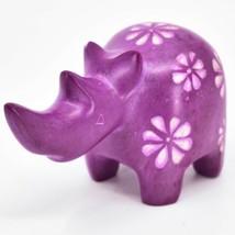 Vaneal Group Hand Carved Kisii Soapstone Fuchsia Rhinoceros Rhino Figurine image 2