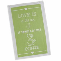 "Love Is In The Air It Smells Like Coffee Dish Towel New DII 18""x28"" 100%... - $13.85"