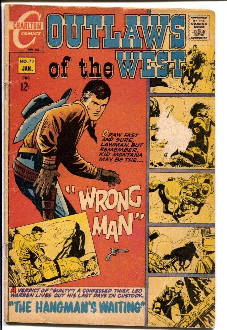 Outlaws Of The West #73 1969-Charlton-Sharpshooter origin--Kid Montana-G