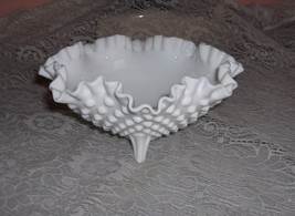 Vintage Fenton Milk Glass Footed Hobnail Ruffled Crimped Trinket Candy Dish Bowl - $34.65