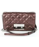 Michael Kors Shoulder Cross Body Bag Sloan Metallic Quilted Merlot Leather - $182.37
