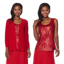 Antthony Retro Holiday Draped Cardigan Jacket Tank Top Set RED XL NEW 58... - $32.65