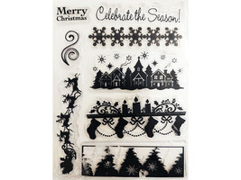 Christmas Clear Stamp Set, Borders of Trees, Santa, Snowflakes, and More