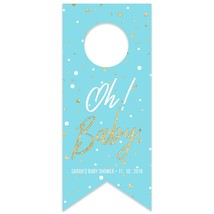 Oh Baby Blue Baby Shower Personalized Water Bottle Hang Tag - $26.24