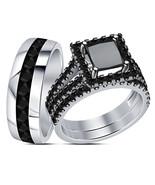 Princess Cut Black CZ Trio Engagement Ring Set 14k White Gold Plated 925... - $152.89