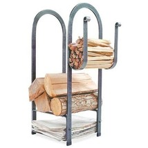 Durable Fire Center Log Rack Hammered Steel Wood Holder Storage Fireplac... - $243.78