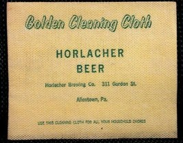 vintage HORLACHER BEER GOLDEN CLEANING CLOTH brewing ALLENTOWN PA bar room - $34.95