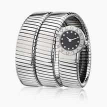 Bvlgari Tubogas Stainless Steel Black Diamond Dial BB19 Watch - $7,475.00