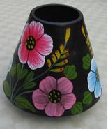 Lamp Shade Tole Candle Small Dome Flowers Floral Bright Colors - $5.93